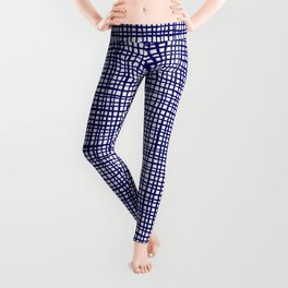 Grid indigo blue bold dramatic modern minimal abstract painting lines gridded pattern print minimal Leggings
