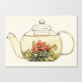 Blooming Flower Tea Watercolour Painting Canvas Print
