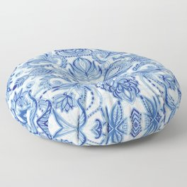 Pattern in Denim Blues on White Floor Pillow
