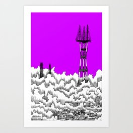San Francisco - Sutro Tower (purple sky) Art Print