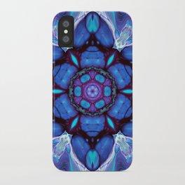 Digital Art Bue and Purple Kaleidoscope - Geometric Colorful iPhone Case