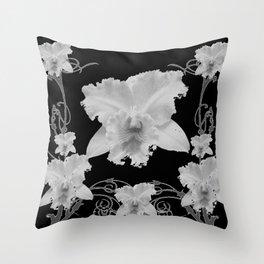 WHITE CATTLEYA ORCHIDS IN BLACK & WHITE ART Throw Pillow