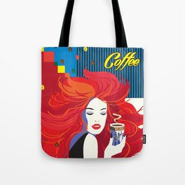 """""""Beautiful Fashion Woman and Coffee Cup"""" POP-ART poster, Retro, Design Tote Bag"""