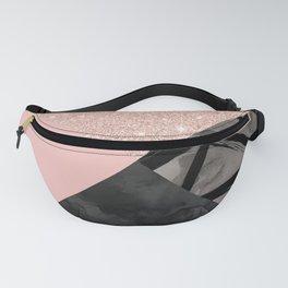 Modern pastel pink black strokes watercolor color block Fanny Pack