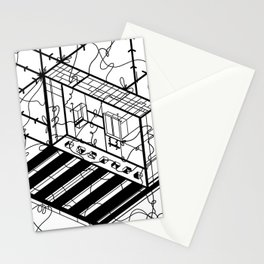 Abstract Sci-Fi Circuit Design - Minimalist Art Stationery Cards