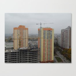 Construction of a multi-storey residential building, new building Canvas Print