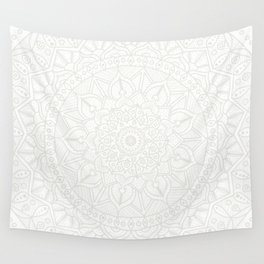 Cream on White Mandala Circle of Life Wall Tapestry