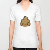 poop V-neck T-shirts featuring Cutey poop by peppermintpopuk