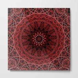 Helter Skelter Red Neon Mandala Metal Print