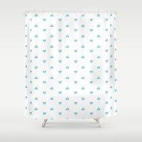 poop Shower Curtains featuring Blue poop by Juli_Karu