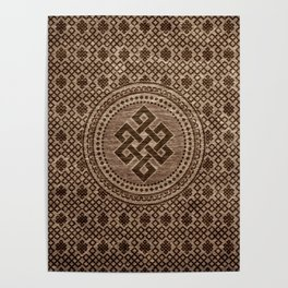 Endless Knot Decorative on Wooden Surface Poster