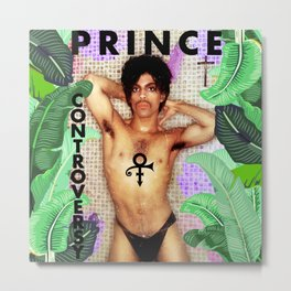 Shower in the Purple Rain with Prince Metal Print