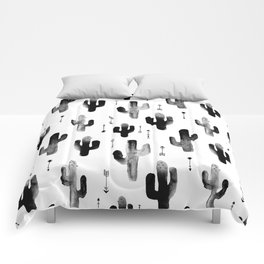 Black and white ink cactus garden indian summer Comforters
