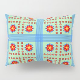 Striped light blue and green background with flowers kl Pillow Sham
