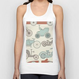 Seamless pattern with vintage cars and bikes Unisex Tank Top