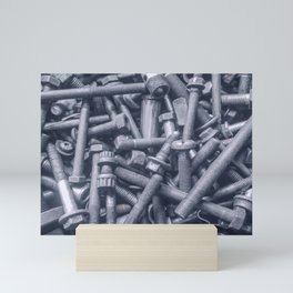 Old Rusty Screws, Nut and Bolts closeup, Rusty Screws Background. Mini Art Print