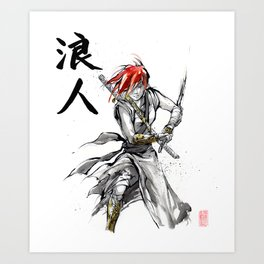 Samurai Girl Red Haired Ronin with calligraphy Art Print