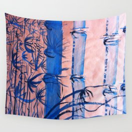 BLUE BAMBOO Wall Tapestry