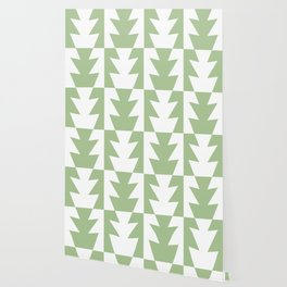 Art Deco Jagged Edge Pattern Sage Green Wallpaper