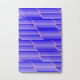 Geo Stripes - Cobalt Blue Metal Print