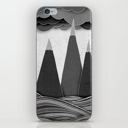 Clouds. Mountains. Water. (black and white) iPhone Skin