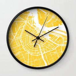 Yellow City Map of Amsterdam, Netherlands Wall Clock