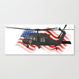 Patriotic Black Hawk UH-60 Military Helicopter Canvas Print