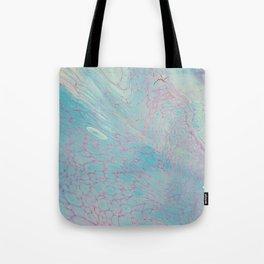 Fluid Art Acrylic Painting, Pour 23, Pastel Blue & Purple Blended Color Tote Bag