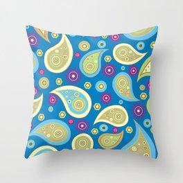 Oriental Persian Paisley, Flowers - Blue Green Throw Pillow