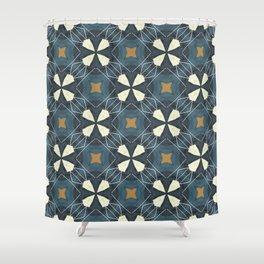 geo floral beige on ink blue Shower Curtain