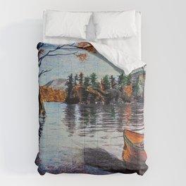 'Dome Island' Lake George Original Art Drawing - Canoe - Lake Wall Art Decor Comforters