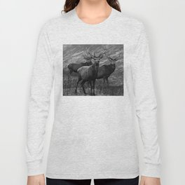 The four stags on the loch b/w Long Sleeve T-shirt