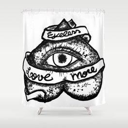 """Eyeless love more""bw Shower Curtain"