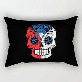 Sugar Skull with Roses and Flag of Czech Republic Rectangular Pillow