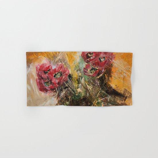 Pink Cactus Flowers Hand & Bath Towel