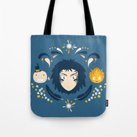 calcifer Tote Bags featuring Howl by Ashley Hay