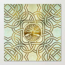 Golden Tree of life  -Yggdrasil on vintage paper Canvas Print