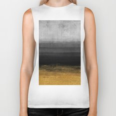 Black and Gold grunge stripes on modern grey beton abstract backround- Stripe-Striped Biker Tank