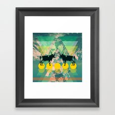 cows are dreaming of funky mountains Framed Art Print