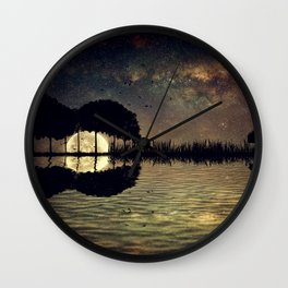 guitar island moonlight Wall Clock