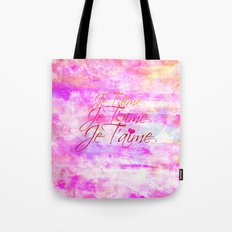 JE T'AIME French Typography Font I Love You Romantic Fine Art Pastel Pink Colorful Abstract Painting Tote Bag