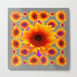 Decorative Grey Golden Yellow Sunflowers Purple Abstract Metal Print