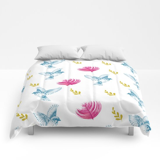 Blue Bird Pattern #society6 #decor #buyart Comforters
