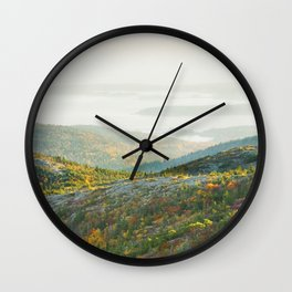 Cadillac Mountain in Fall, Acadia National Park on The Coast Of Maine Wall Clock