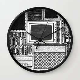 Vhs Tapes and Vinyl Collection with TV Glitch Wall Clock