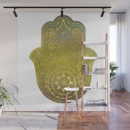 Colorful Watercolor And Gold Hamsa Hand - II Wall Mural