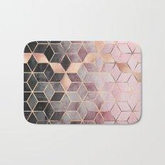 Pink And Grey Gradient Cubes Bath Mat