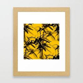 Bamboo Branches On A Yellow Background #decor #society6 #buyart #pivivikstrm Framed Art Print