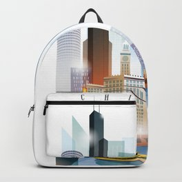 Chicago city skyline painting Backpack