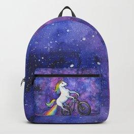 Rainbow Unicorn in Space on Bike Backpack